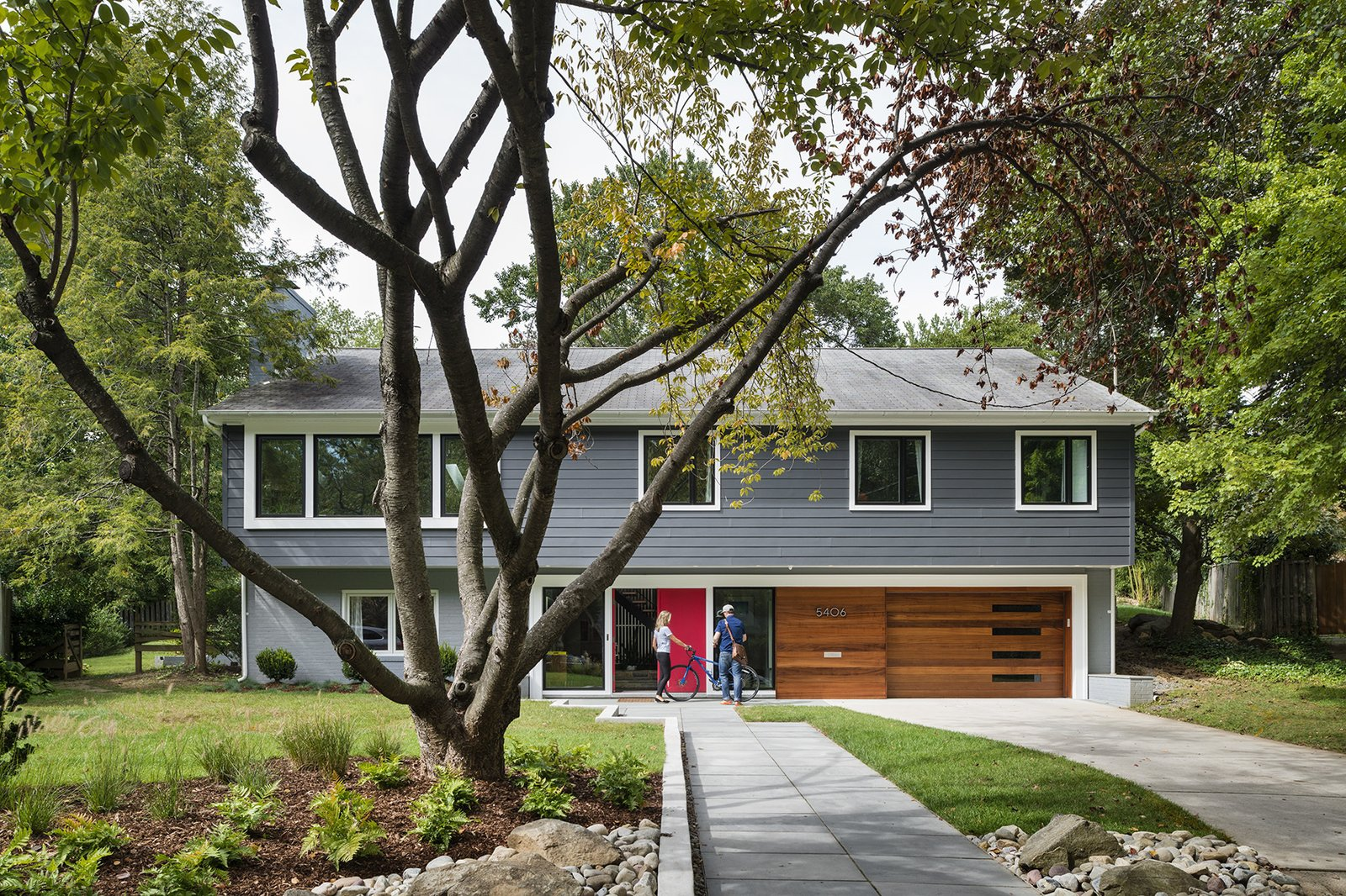 """Front Yard, Trees, Shrubs, Grass, Hardscapes, Gardens, Walkways, Exterior, House, and Wood """"We looked at so many colonials and couldn't imagine what we'd do with all the tiny rooms,"""" says Dianne Bruning, who with her husband, David Owen, enlisted architect Lou Balodemas to update a 1968 home outside of Chevy Chase, Maryland.  Exterior Trees Wood Photos from Minor Adjustments"""
