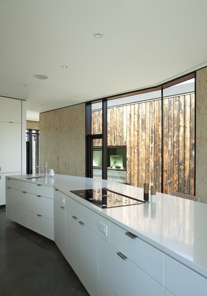 In the kitchen, the cabinetry is by High Country Cabinets and the countertop is Caesarstone.