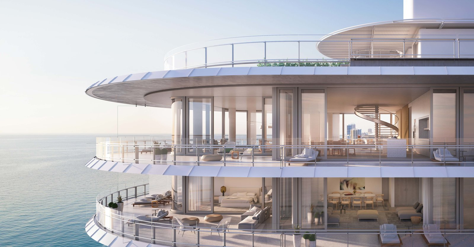 Take a peek into the expansive residences that seem to float over the ocean.  Photo 2 of 8 in Sneak Peek of Renzo Piano's New Stunning Oceanfront Condominiums in Miami's North Beach
