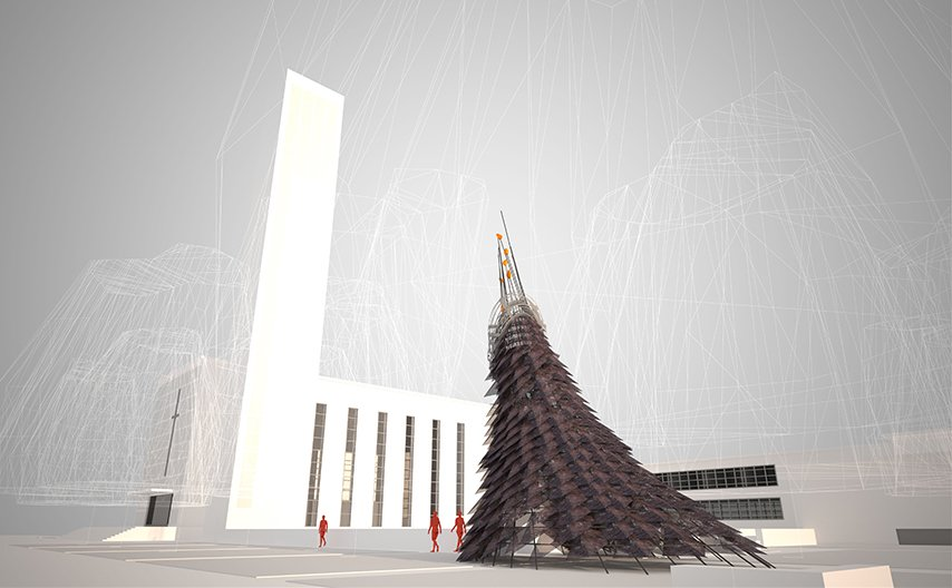 """Wiikiaami by Studio: Indigenous   Constructed of rebar  and perforated copper scales, a contemporary """"wigwam""""—wiikiaami  in the language of  the indigenous Miyaamia people—serves as  a gathering space  as well as a gateway  to Eliel Saarinen's First  Christian Church.  Photo 1 of 9 in Exhibit Columbus: A New Era of Celebrating Design"""