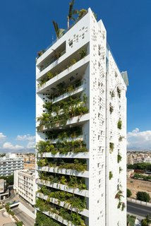 As with many of Jean Nouvel's designs, Cyprus Tower, a high-rise building located in the center of Nicosia, is ready-made with sprouts of greenery. Landscaping covers 80 percent of the building's southern facade.