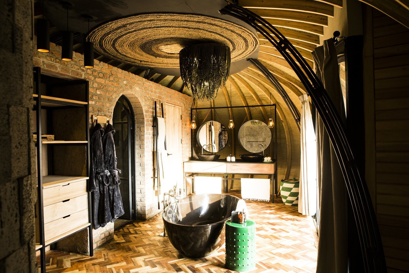 Bathroom interiors  Photo 5 of 11 in Take an Eco-Escape to a Spherical Forest Villa in an Eroded Volcanic Cone in Rwanda