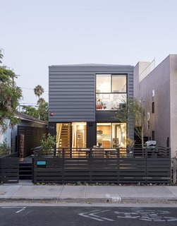 Universal design and affordability were uppermost in the minds of TJ Hill and Jay Heiserman when they asked Jared Levy and Gordon Stott of Connect Homes to replace their cramped bungalow with a modern prefab. Since the firm's modules are 8 feet wide, the house could only be 16 feet wide, but the architects used the remaining space for a large deck, creating a flexible and seamless first-floor plan. - Santa Monica, California Dwell Magazine : July / August 2017