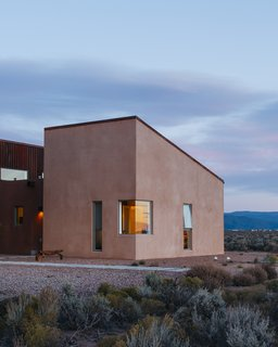 "The house measures approximately 2,500 square feet. Molly, who was born and raised in Taos, says, ""Proportionally, it's a very human scale, and it salutes the unconventional architecture found in local Earthship houses and owner-built homes."" - Taos, New Mexico Dwell Magazine : July / August 2017"