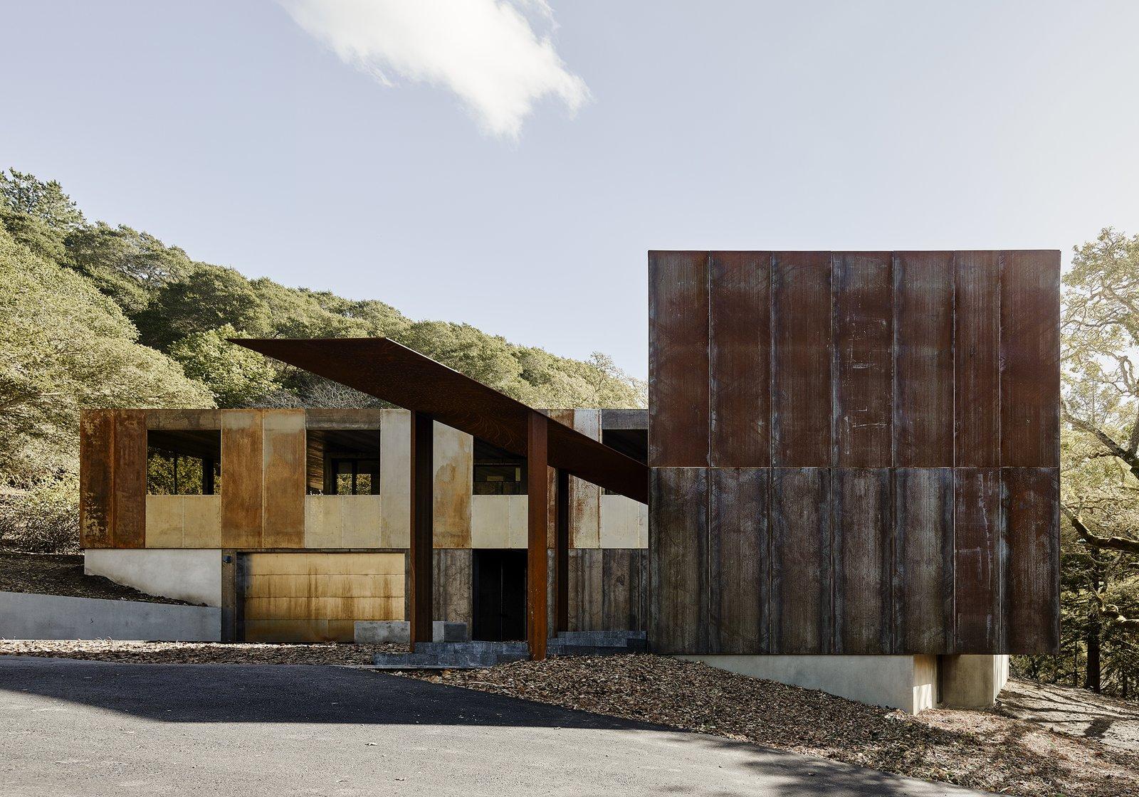cor-ten steel home faulkner architects exterior