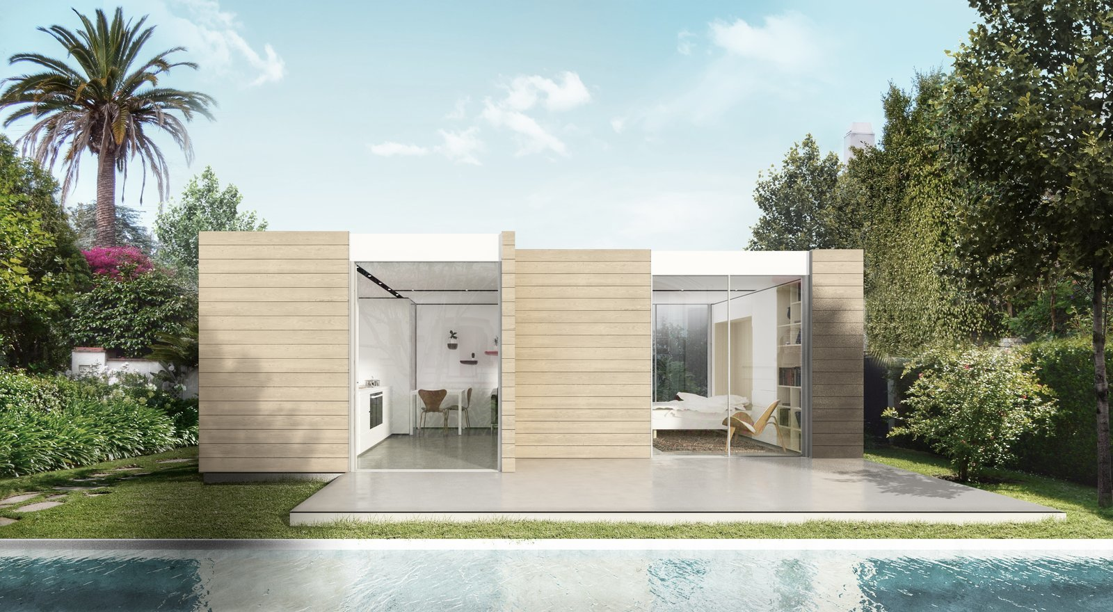 modular prefab by cover exterior pool
