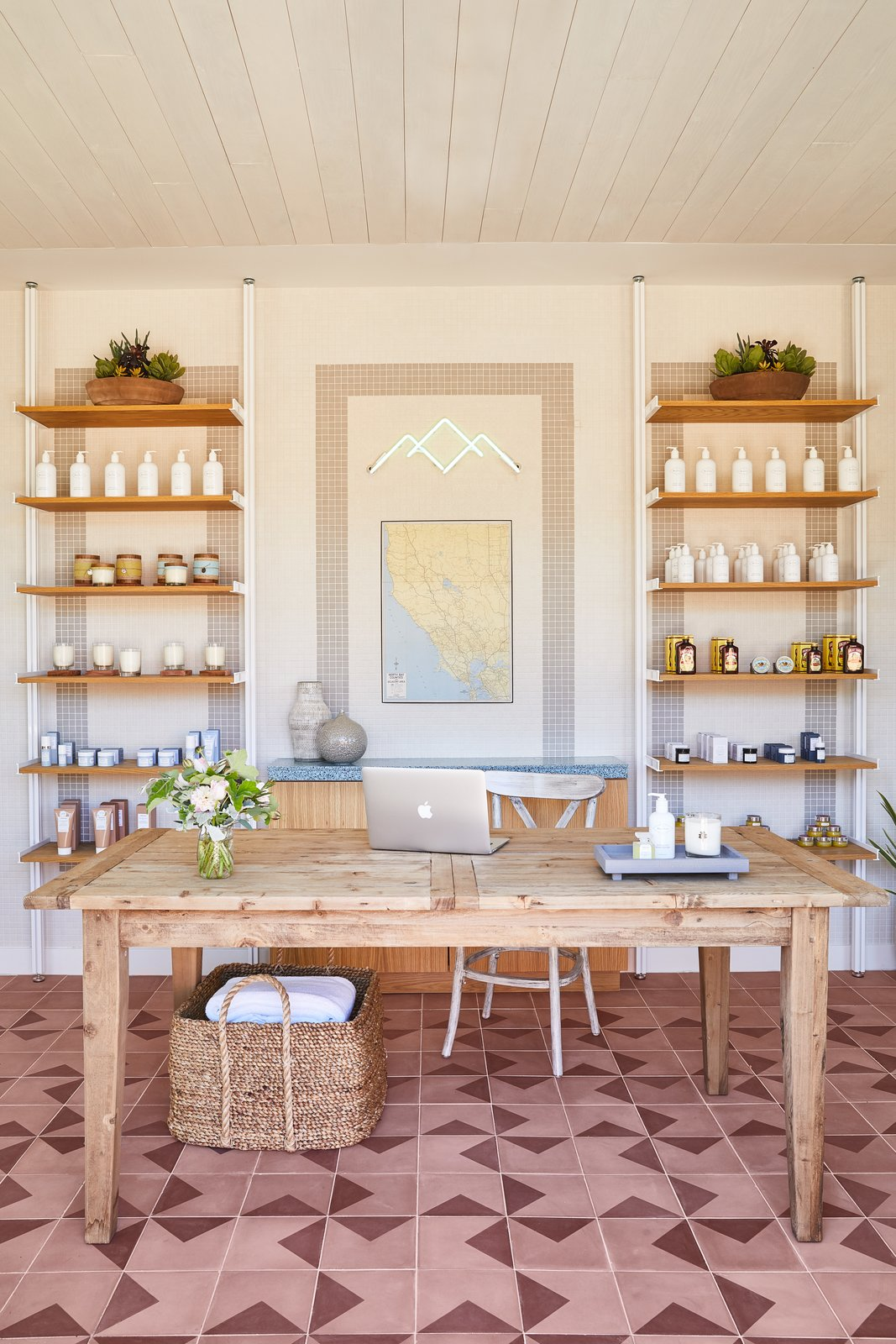 Office, Shelves, Desk, and Chair The spa, which has seven treatment rooms, draws from classic bathhouses and mineral baths and therapies found all over the world. The boutique area allows guests to take their favorite products home with them.  Best Photos