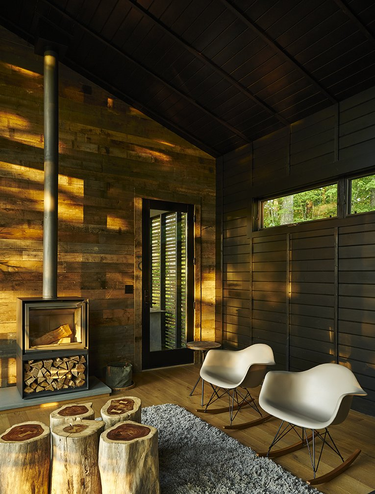 A RusticModern Cabin Inspired By Japanese Bungalows And Shou Sugi Enchanting Japanese Living Room Exterior