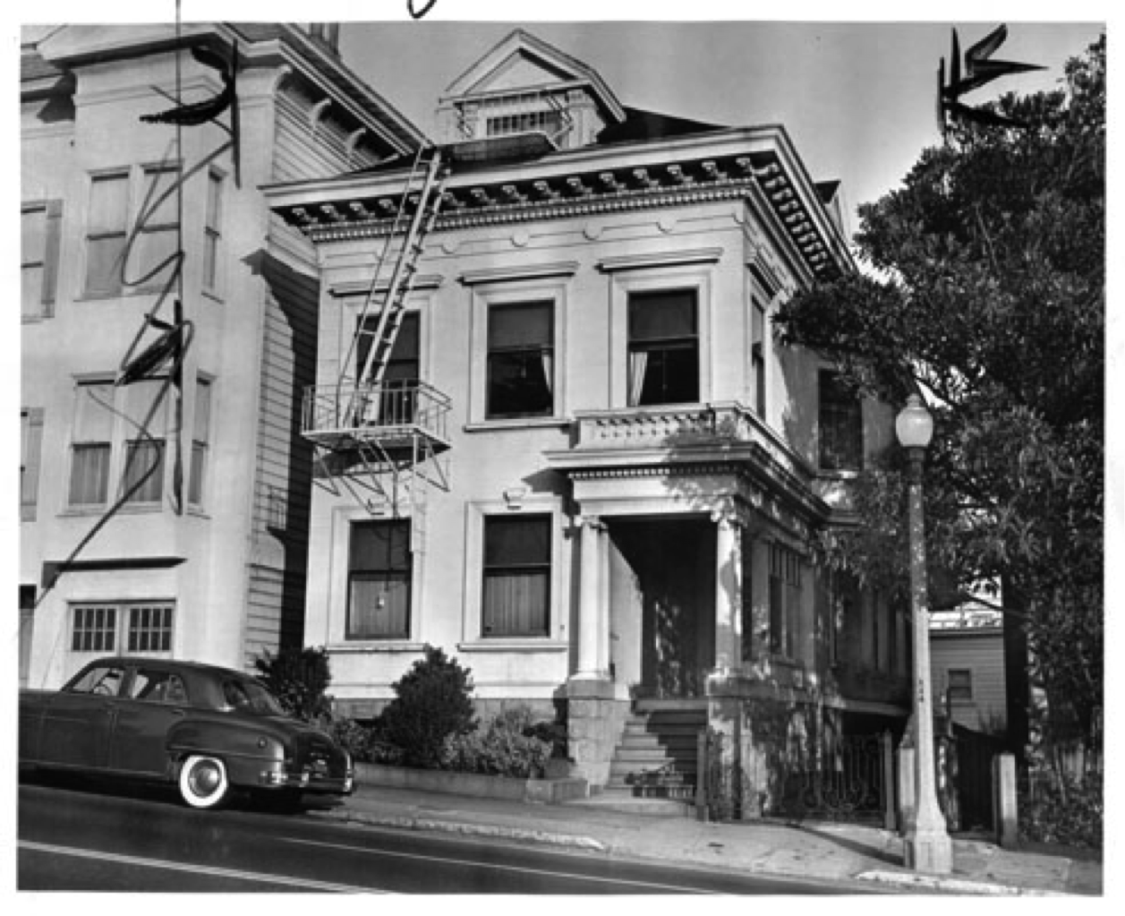 Alamo Square Residence historic black and white photo of victorian style house