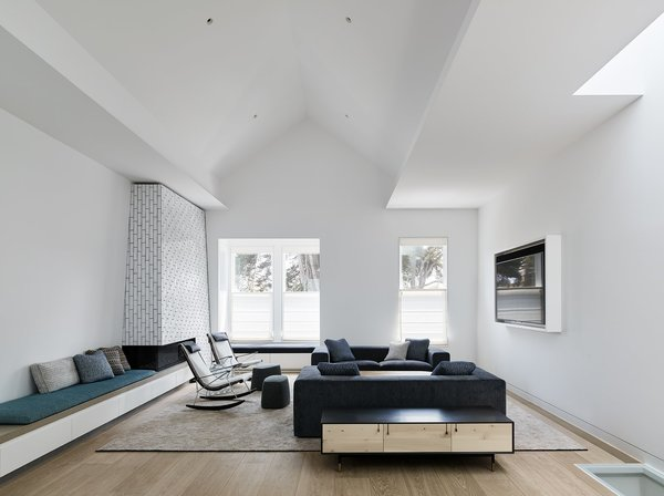 Best 60 modern living room ceiling lighting design photos and ideas fronting alamo square park the living rooms pitched ceiling creates an expansive space for socializing mozeypictures Choice Image