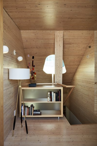 Three of the five bedrooms at Firehouse 12 are located in the addition, which is made of cross-laminated timber panels, an engineered, prefabricated wood product. - New Haven, Connecticut Dwell Magazine : September / October 2017