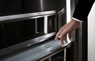 The beautifully designed Dacor Modernist Column Refrigerator is the most advanced way to preserve your food. Its revolutionary features include stainless steel wrapped interiors, 3D lighting, dual door mounted cameras, and push-to-open doors like this Freshzone drawer—perfect for keeping cheese and meats as fresh as the day they were purchased.