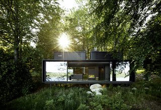 The steel prefab Vipp Shelter is an ultra-sleek escape surrounded by nature.