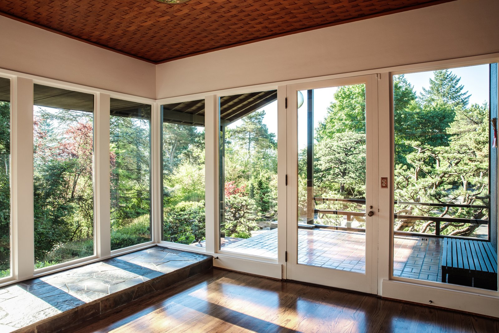 Windows Contractor Patrick O'Neil repaired the woven Douglas fir ceiling in the foyer.  Photo 9 of 15 in Nearly 80 Years Later, an Architect Rescues a Japanese-Inspired  Masterwork Designed by His Father
