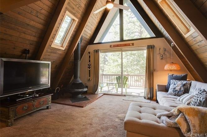 Before: A look at the dated interior.  Photo 6 of 13 in A 1970s A-Frame Cabin in Big Bear Is Brought Back to Life