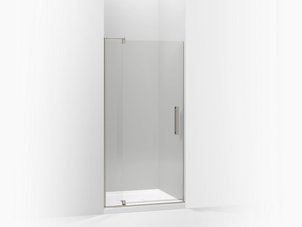 Revel pivot shower door by Kohler From $861  Minimalist frameless shower doors like Kohler's Revel are especially well-suited for people with small bathrooms because their width can be easily adjusted.  Photo 28 of 32 in Watch Out For These Two Kitchen and Bath Trends in 2018