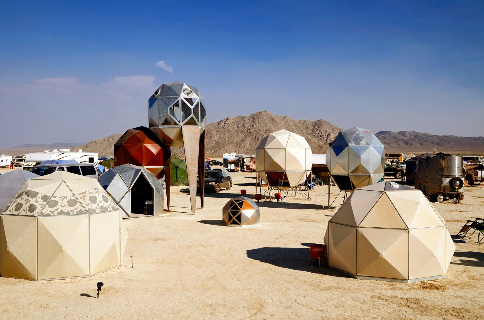 Exterior, Tent Building Type, Dome RoofLine, and Prefab Building Type Metal Pods  by Scott Parenteau  Photos from 16 Otherworldly Photos of Burning Man Architecture