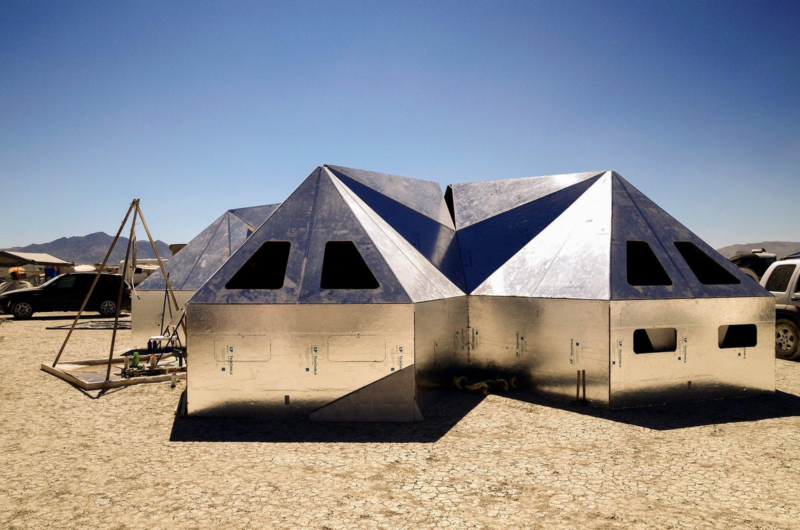 Exterior, Prefab, Tent, Metal, and Gable Pentayurts at Easy Buckaroo Camp  Exterior Tent Gable Photos from 16 Otherworldly Photos of Burning Man Architecture