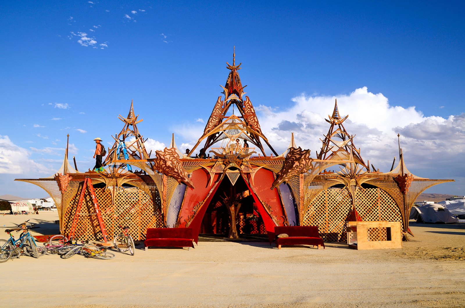 Exterior, Metal Siding Material, Tent Building Type, and Prefab Building Type Balinese Camp  Photos from 16 Otherworldly Photos of Burning Man Architecture