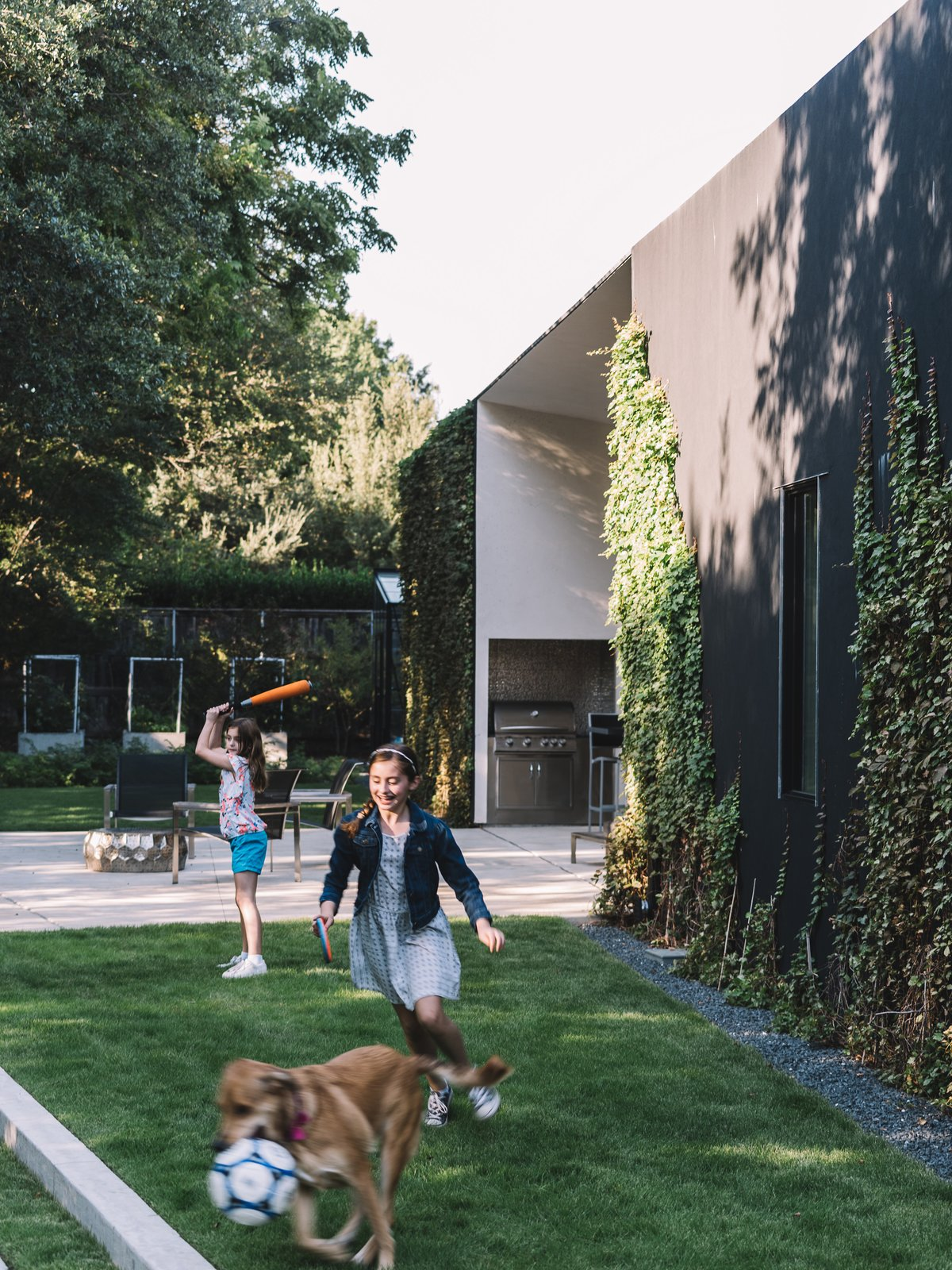 Outdoor, Trees, Side Yard, Concrete, Gardens, Large, Shrubs, Walkways, and Grass The west patio opens up to a grass area that can be enjoyed by many.  Best Outdoor Large Concrete Photos from A Black Stucco Home in Dallas Is Surrounded by Eye-Popping Greenery