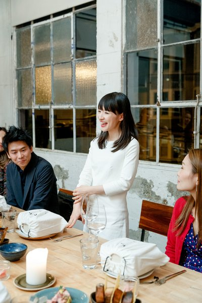 Marie Kondo gives a speech at dinner with Cuyana and Dwell.