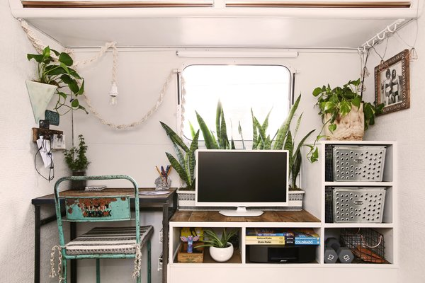 Because Sheena and Jason both work remotely, the couple made sure to create two dedicated work areas.