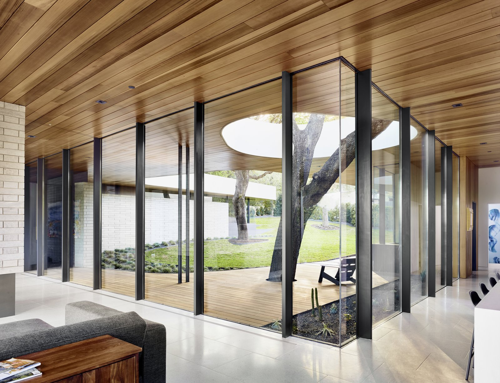 """Windows and Metal The insulated glass at the front of the house was glazed on-site. """"The result is far more glass and far less mullion than in a typical glass wall,"""" says Alter.  Photo 4 of 10 in This House in Austin Has a Tree Growing Right Through It"""