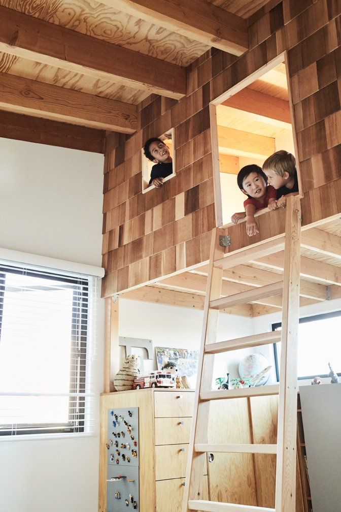 Kids Room, Storage, Bedroom Room Type, Playroom Room Type, Bunks, and Neutral Gender Taku designed a shingled playhouse/bunkbed.  Photo 11 of 17 in Explore the Japanese-Style Home of Two L.A. Tastemakers