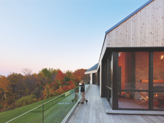 The homeowners of the Hilltop house spent time studying the wind and sun movements along their Niagara Escarpment property so that, when it came time to build, they could capitalize on the natural movement of the light and air in the design of their home.