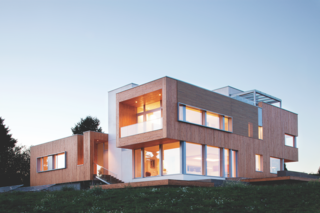 In order to complement the Karuna House's clean, modern lines, the homeowners opted for a building material that would add depth and texture to the home's other building materials, largely glass and concrete. Western Red Cedar's texture reflects the projects natural surroundings.