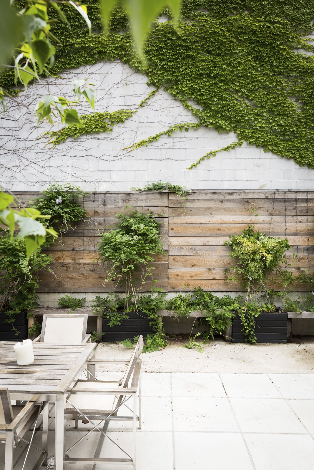 Outdoor, Gardens, Wood Fences, Wall, Concrete Fences, Wall, Concrete Patio, Porch, Deck, and Garden The downstairs garden space offers another outdoor escape.  Photos from In Brooklyn, an 1890s Townhouse Is Reborn With Tons of Light and a Crisp Black Facade