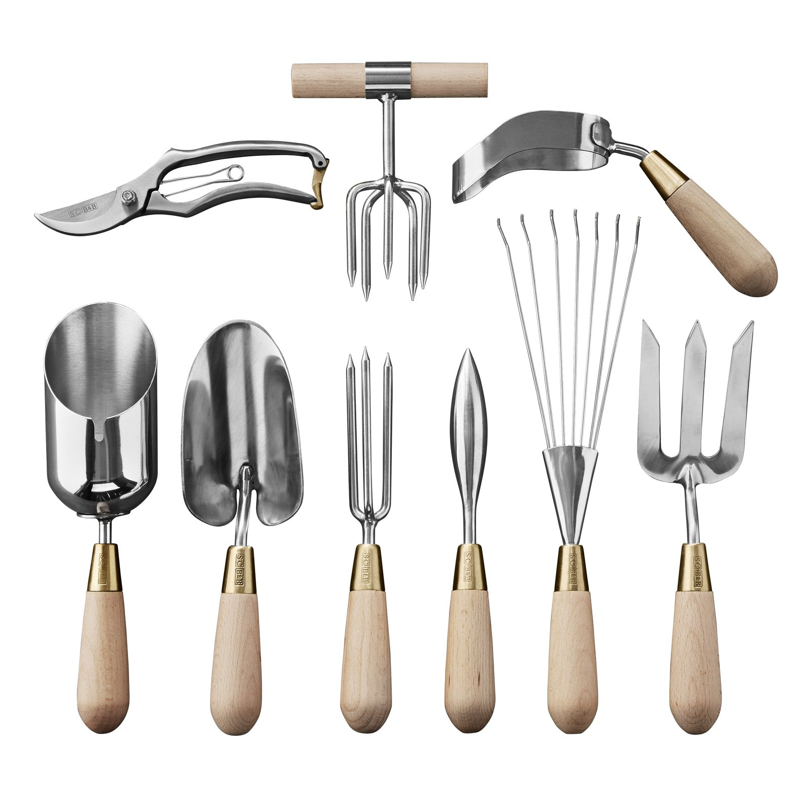 Ergonomically designed for women by English food writer and gardener Sophie Conran, the Ultimate Tool Set from Williams Sonoma ($250 for nine items) features polished steel heads, brass fittings, and solid beech wood handles.  Photo 21 of 24 in 24 Outdoor Products for Every Kind of Summer Plan