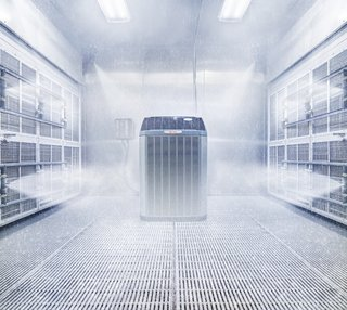 Trane's SEET—that is, system extreme environmental testing—is conducted inside climate controlled chambers, where running air conditioners and heat pumps are subjected to rain, ice, blistering heat, and even snow.