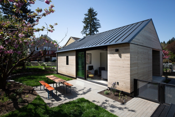 An architect and construction engineer couple build a sustainable, 624-square-foot abode for $221,580 in their Southeast Portland backyard.