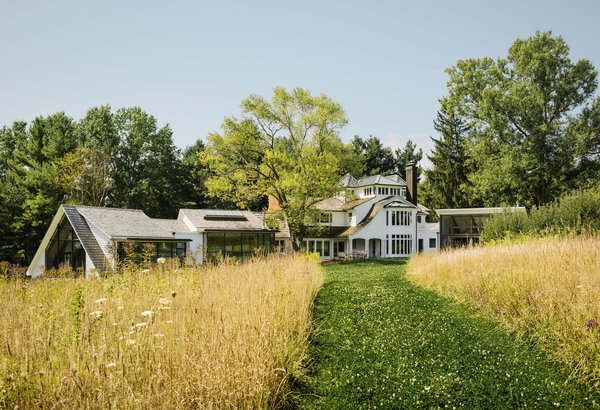 Behind the house is a large meadow with a white clover path. The grasses are a mixture of pasture grasses, wildflowers, and milkweed, an important host plant for monarch butterflies.