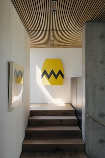 """Middle Aged Charlie Brown"" by David Buckingham hangs at the top of the staircase."