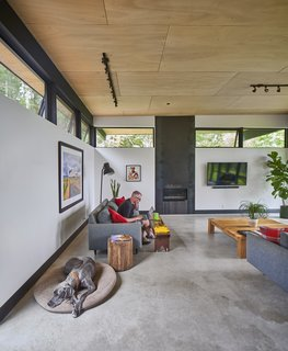 In the living area, Lou sits on a Room & Board sofa, while one of the family's two Great Danes relaxes nearby; the fireplace is by Montigo.