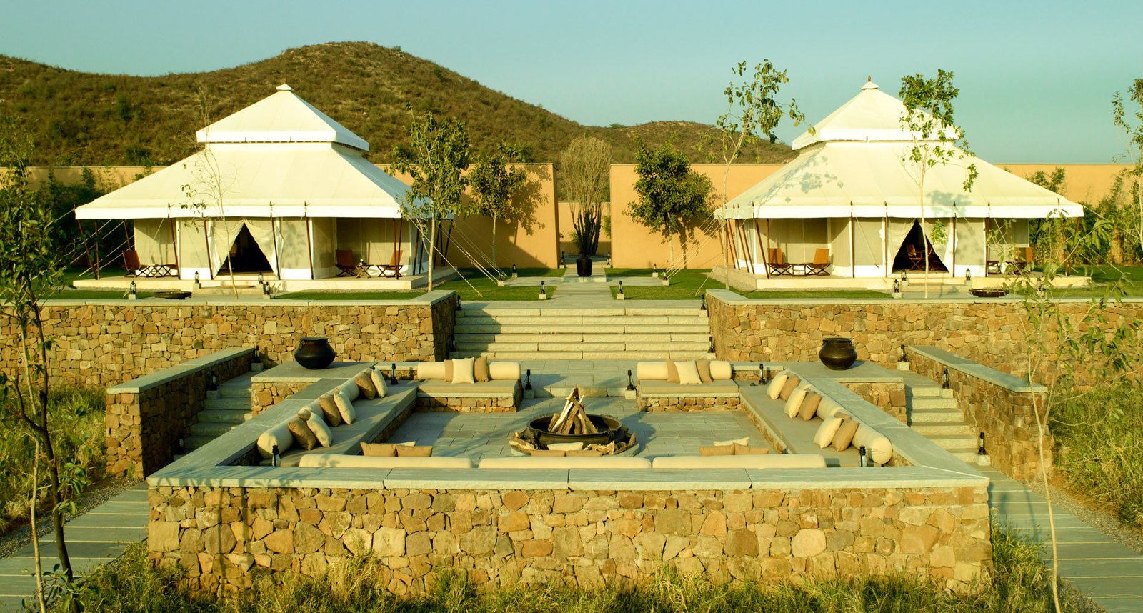 Outdoor, Trees, and Walkways Aman-i-Khás in Ranthambhore, India  Photo 2 of 12 in 12 Epic Hotels That Take Glamping to the Next Level from Aman-i-Khás