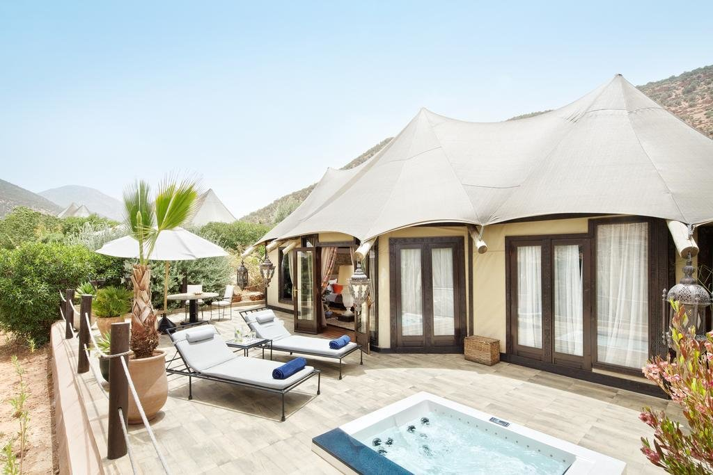 Outdoor, Hot Tub Pools, Tubs, Shower, and Large Patio, Porch, Deck Kasbah Tamadot in Atlas Mountains, Morocco  Photo 5 of 12 in 12 Epic Hotels That Take Glamping to the Next Level from Kasbah Tamadot