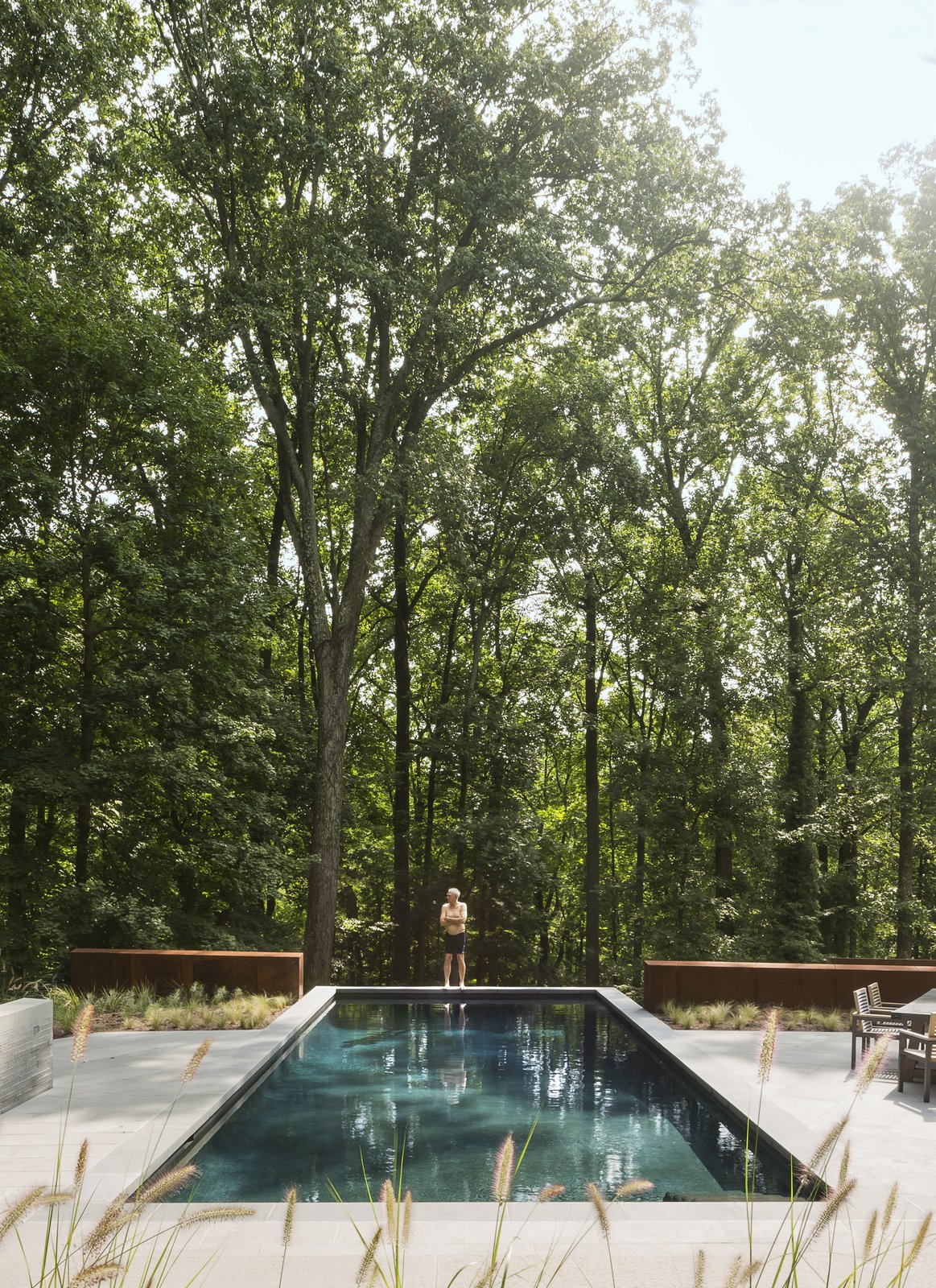 Outdoor, Trees, Shrubs, Large Patio, Porch, Deck, Back Yard, and Swimming Pools, Tubs, Shower In back, the swimming pool abuts a steep drop-off.  Photo 8 of 14 in After a Fire, a Maryland Couple Turn to Charred Wood to Rebuild Their House