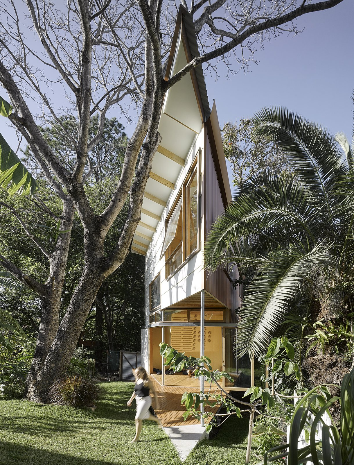 Outdoor, Shrubs, Wood Patio, Porch, Deck, Large Patio, Porch, Deck, Trees, Back Yard, and Grass The western wall of the treehouse is clad in metal to shade the structure from afternoon sun.  Photo 2 of 11 in This Triangular Tree House Adds Whimsy to a Backyard in Australia