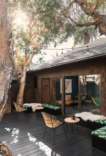 The private patio can accommodate work or play.