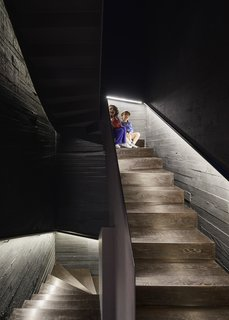 The boys sit  on the staircase, which leads to a large basement playroom. LED strips under the custom handrails provide light.
