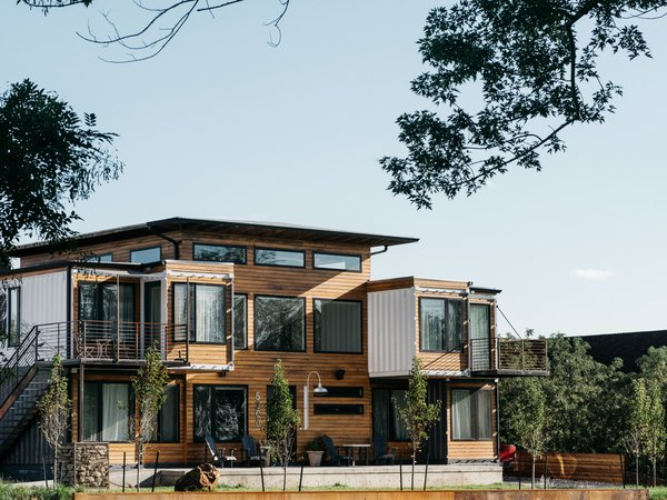Nine shipping containers form the basis of this new multigenerational house near Denver.