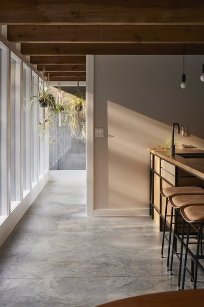 The guest house kitchen faces a wall of windows.