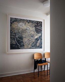 Pentagram designer Paula Scher gifted the couple one of her silkscreened maps.
