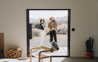 Over five months, Naude and Brown renovated their desert bungalow into a design retreat and second home for themselves, baby Rico, and their dog, Mona.