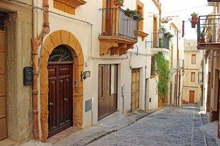 A cobblestone street in Sambuca, Sicily