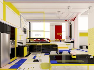 This experimental apartment highlights the forms, lines, and colors of Piet Mondrian's art.