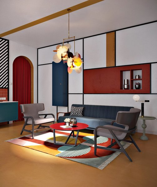 Primary colors and straight lines fuse together in this bold apartment. A Cosmorelax Essex sofa sits in the living area, along with Maxalto Fulgens armchairs.